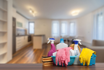 Deep cleaning of apartments according to Swiss handover rules with handover guarantee included.
